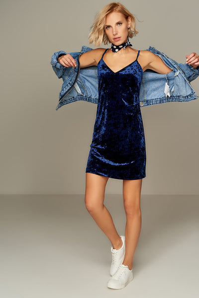 1210113 Navy Blue Velour Slip Dress