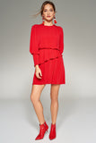 1210229 Red Waist Frill Detail Dress
