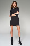 4510242 Black Embroidered Collar Shift Dress