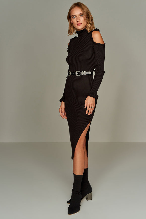 4510256 Black Open Shoulder Sweater Dress