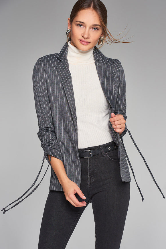 3510250 Anthracite Striped Ruched Sleeve Jacket