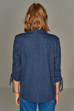 3510223 Blue Striped Ruched Sleeve Jacket