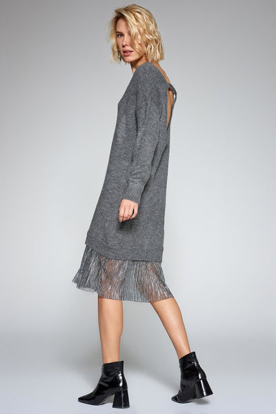 1210117 Anthracite Skirt Detail Dress