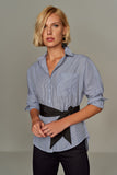 3010047 Navy Blue Stripe Belt Shirt