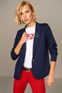 3510243 Navy Blue One Button Jacket