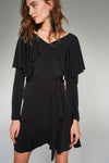 1210218 Black Tiered Dress
