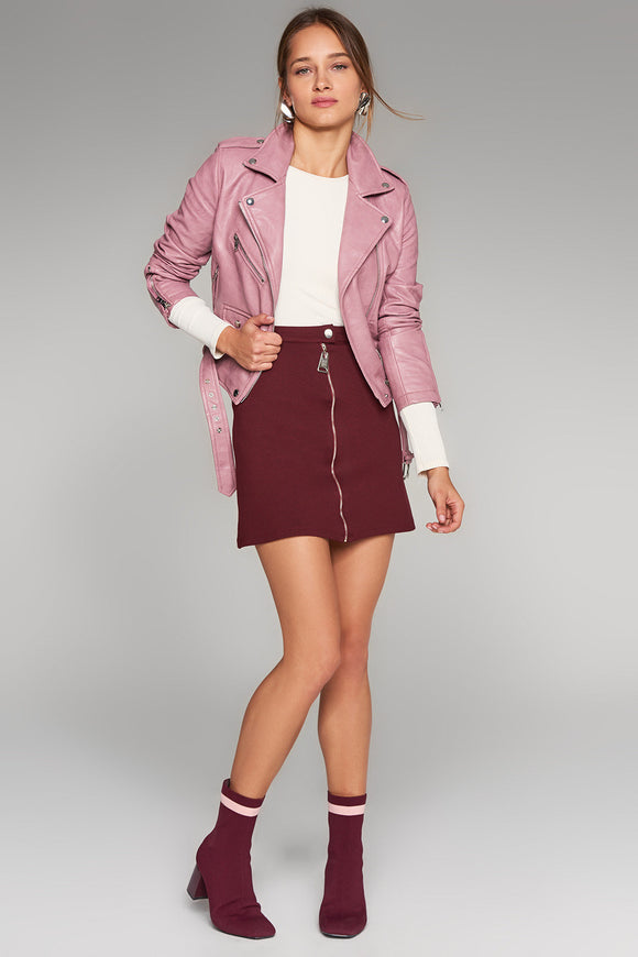 2910092 Bordeaux Zip-up Mini Skirt