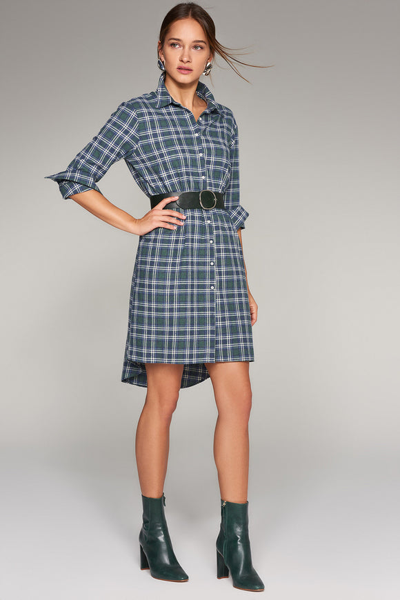 4510271 Green Plaid Shirt Dress