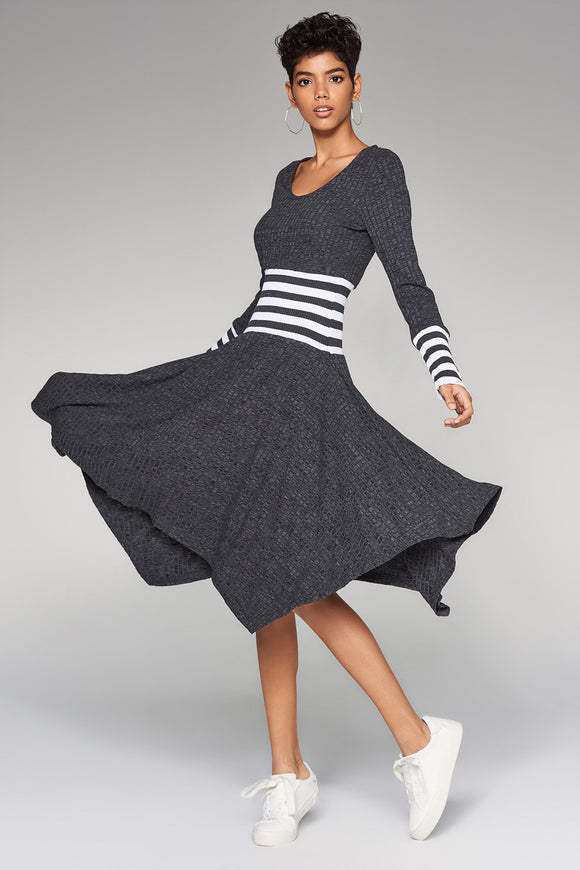 4510272 Anthracite Waist Detail Sweater Dress
