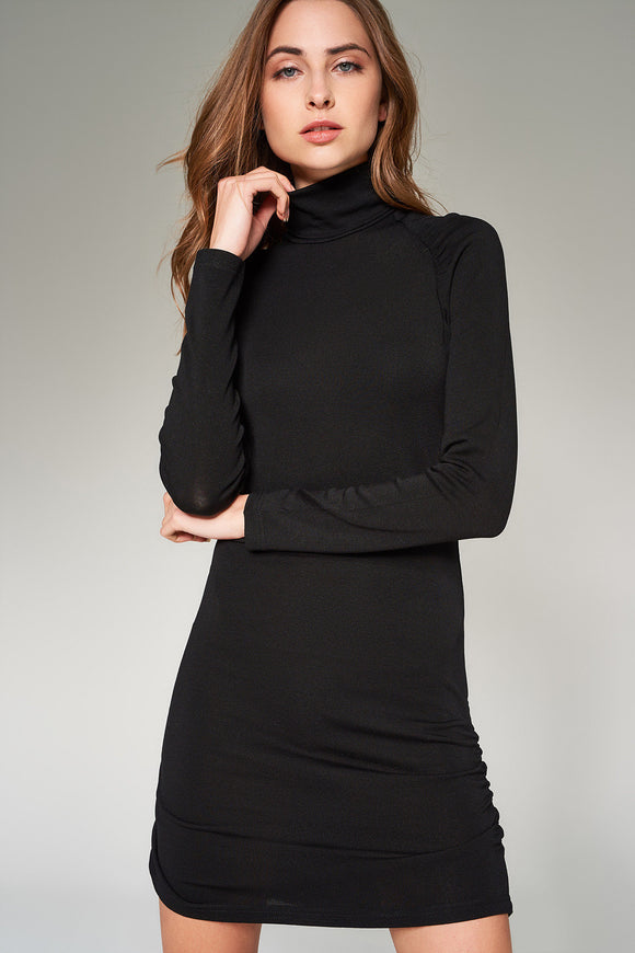 4510274 Black Ruched Detail Dress