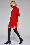 1210118 Red Side Slit Sweater Dress