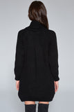 1210119 Black Side Slit Sweater Dress