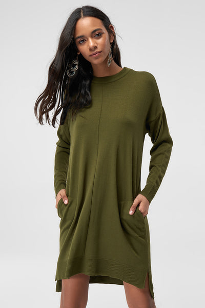 1210309 Green Hooded Knit Dress
