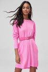 1210315 Pink Knitted Hi-Low Dress