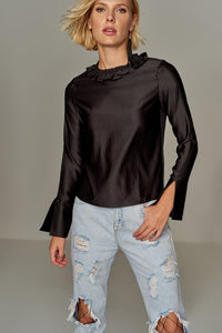 3020191 Black Satin Blouse