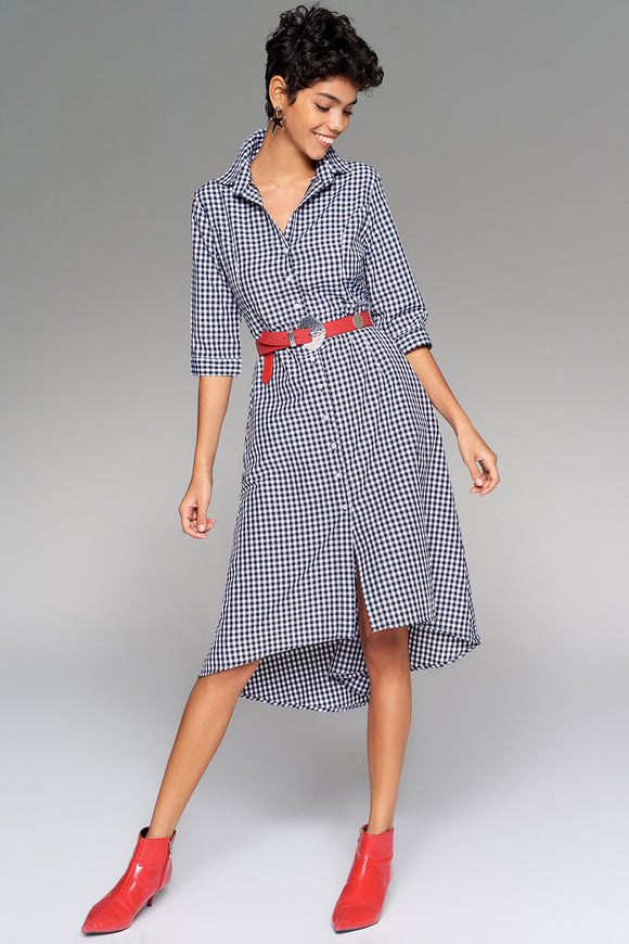 4510276 Black Check Asymmetrical Shirt Dress