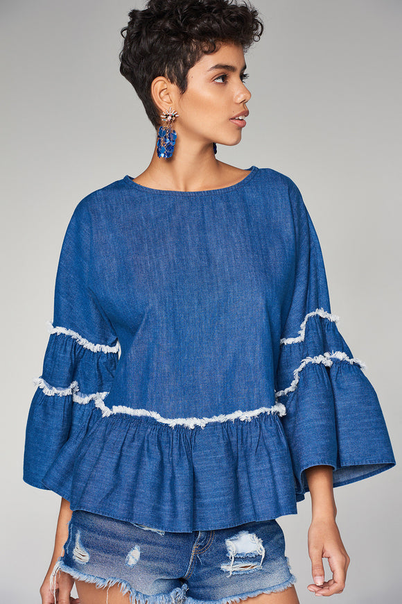 3020361 Blue Wide Sleeve Blouse