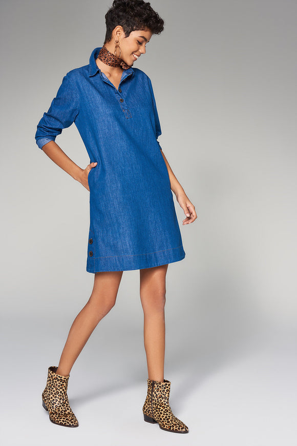 1210120 Blue Button Detail Denim Dress