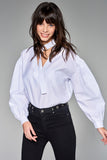 3020192 White Tie-Neck Blouse