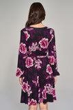 1210214 Purple Flower Pattern Dress