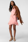 1210311 Pink Ruffle Detail Mini Dress