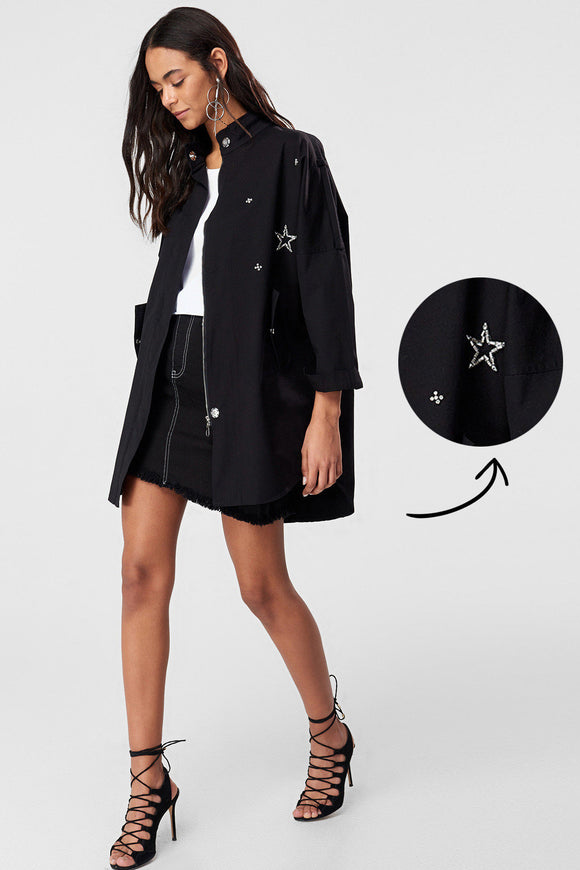 3550003 Black Stone Detail Trench Coat