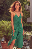 1210452 Green Ruched Ruffle Slit Dress