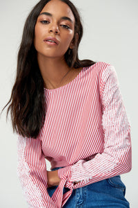 3020214 Red Striped Blouse