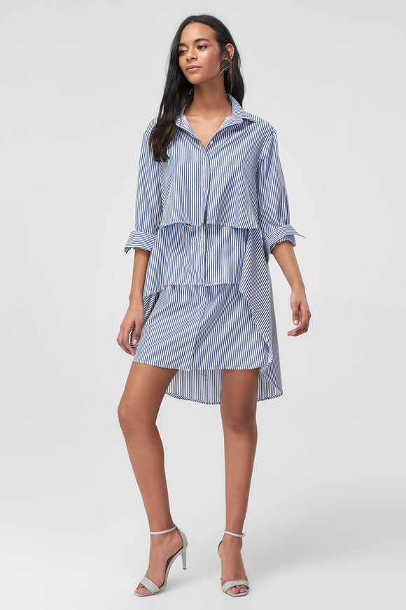 1210483 Blue Striped Tiered Hi Low Shirt Dress
