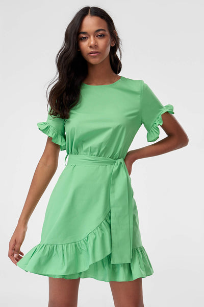 1210380 Green Ruffle Hem Dress