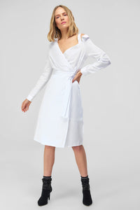 4510822 White Shoulder Detail Wrap Dress