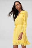1210409 Yellow Ruffle Sleeve Dress