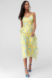 4610198 Yellow Floral Midi Dress