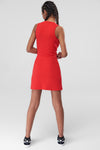 1210459 Red Cutout Waist Sheath Dress