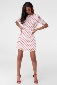 1210386 Off-White Patterned Shift Dress