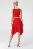 1210488 Red Ribbon Waist Band Hi Low Dress