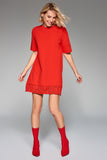 1210122 Red Letter Printed Shift Dress