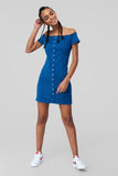 1210491 Blue Bardot Denim Dress