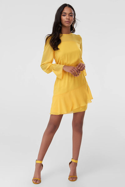 1210416 Yellow Tiered Dress
