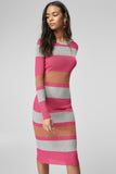 1210335 Pink-Silver Midi Sweater Dress