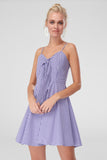 1210447 Purple Check Bow Slip Dress