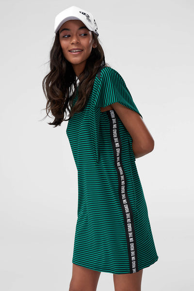 1210368 Green Striped Shift Dress