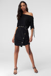 1210361 Black Off-Shoulder Ruched Dress