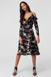 1210363 Black Floral Wrap Dress