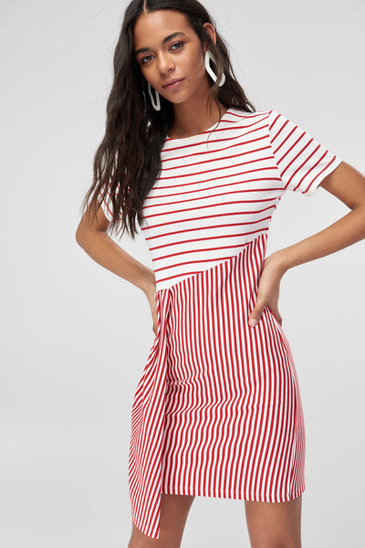 1210457 Off-White-Red Striped Sheath Dress