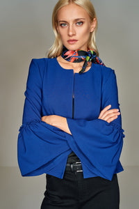 3510245 Blue Frill Sleeve Jacket