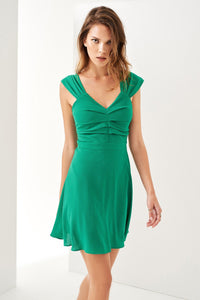 1210124 Green Drape Detail Dress