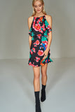 1210125 Black Flower Printed Dress