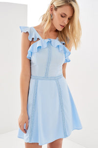 1210126 Blue Frill Lace Skater Dress