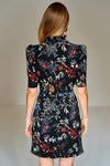 1210160 Black Flower Pattern Dress